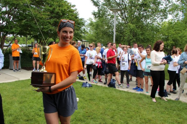 Risa from GSK accepts the Admirals Cup for the largest team turnout