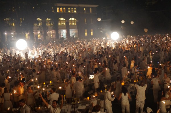 4,500 sparklers light up The Navy Yard for Diner en Blanc. Photo by Kory Aversa.