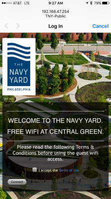 Central Green's wifi landing page