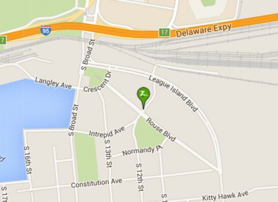 Map showing location of Zipcar station (on Intrepid Ave, just east of Rouse Blvd)