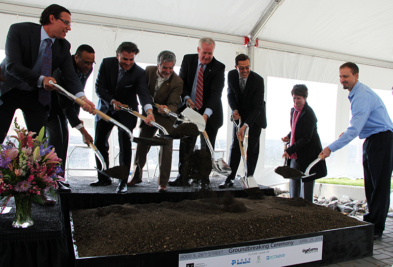 Partners breaking ground at The Navy Yard Commerce Center's latest flex building